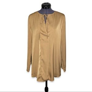 Camber & Grace Satin Brown Tie Up Wrap Blouse